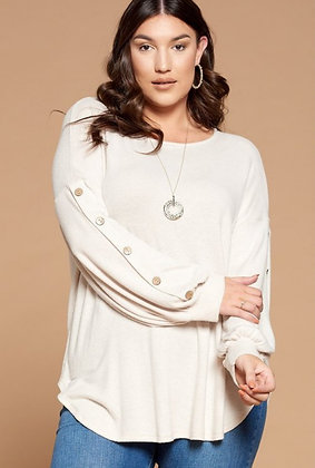 Curvy Oatmeal Button Sleeve
