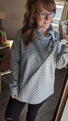 Asymmetrical Grey Knit Sweater