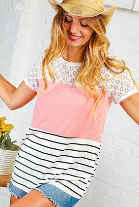 Lace Rib Stripe Colorblock Top
