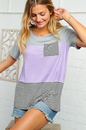 Curvy Lavender & Grey Stripe Pocket Tee