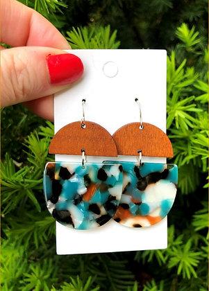 Teal Deco Drop Earrings