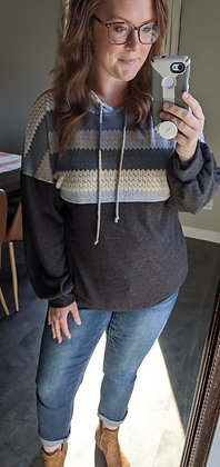 Curvy Charcoal Multi-Colored Hoodie