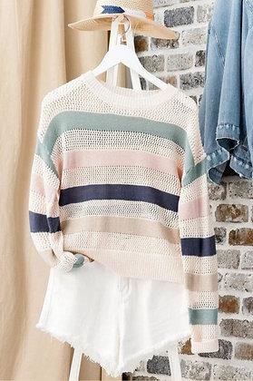 Pastel Stripe Open Knit Sweater