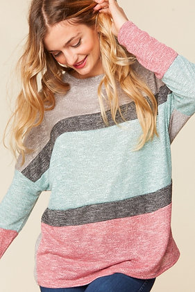Curvy Multi Stripe Knit Top