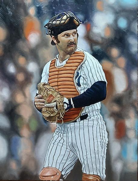 oil portrait painting realism figurative art baseball player catcher