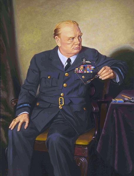 master copy Churchill oil portrait painting figurative art realism