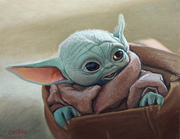 Mogree baby yoda portrait painting drawing star wars mandolorian