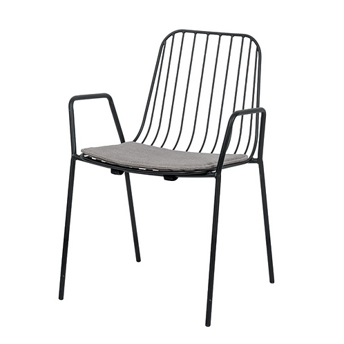 Morris - Metalen Tuinstoel met Armleuningen - Mat Zwart