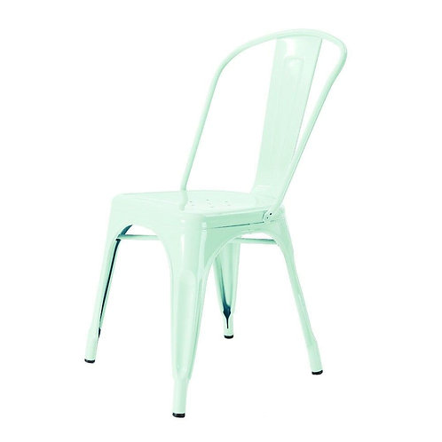 metalen café stoel licht blauw