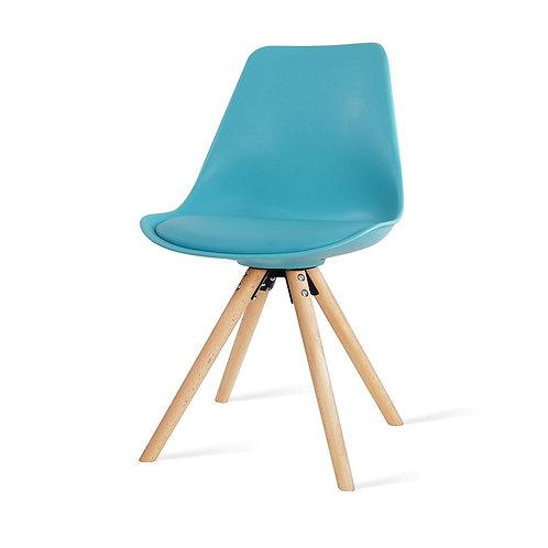 Legno Pastel Kuipstoel met Houten Onderstel - Turquoise