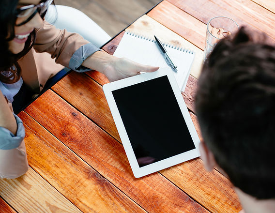 Die Arbeit an einem Tablet