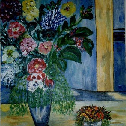 Les Fleurs Bleues dans la Fenêtre