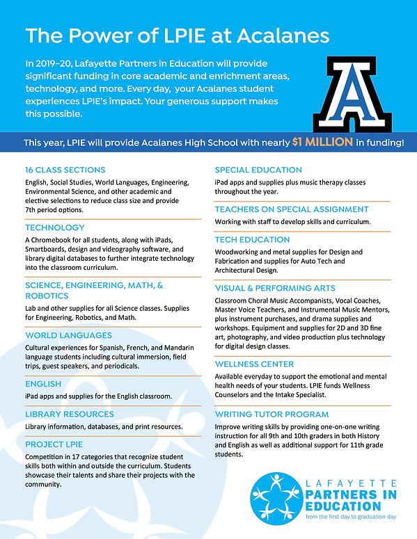 Acalanes Programs Flier 2019-20 page 1 (