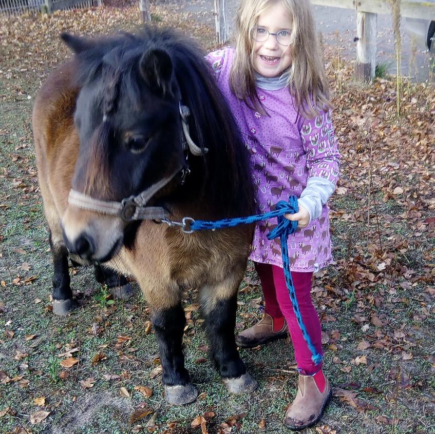 Pony und Kind im Glanz