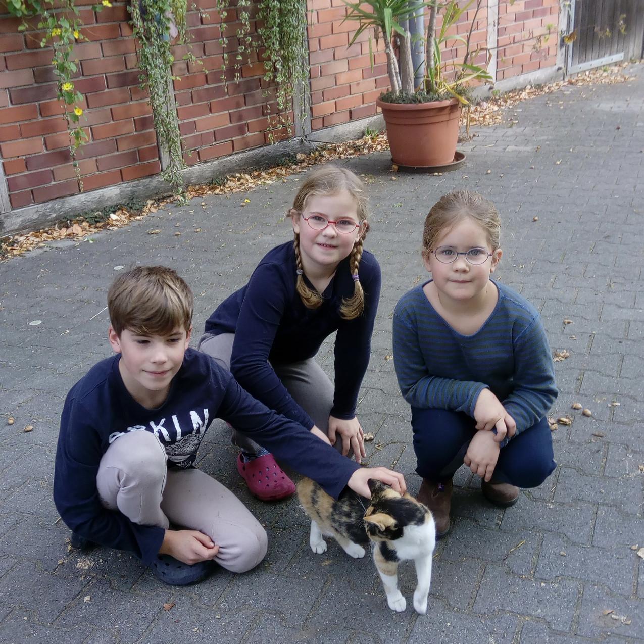 Katze Minzi mit Kindern