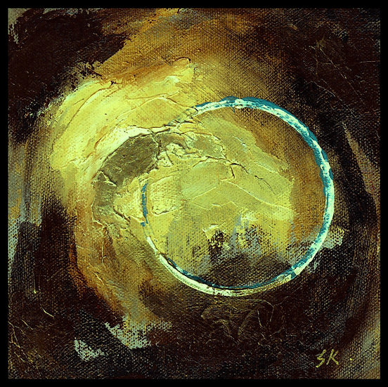 CIRCLE GALAXY I. Acrylic on canvas, by Susan Kemp.