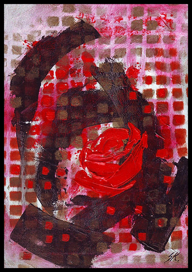 DRAMA QUEEN (Red Rose). Acrylic on canvas, by Susan Kemp