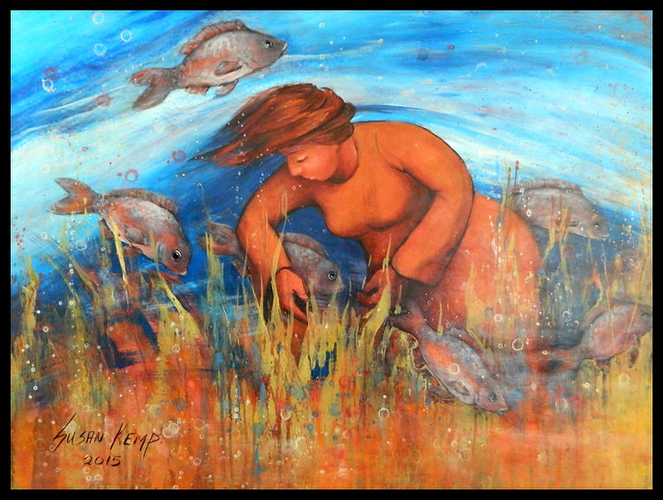 DREAM HARVEST, acrylic on paper, by Susan Kemp.