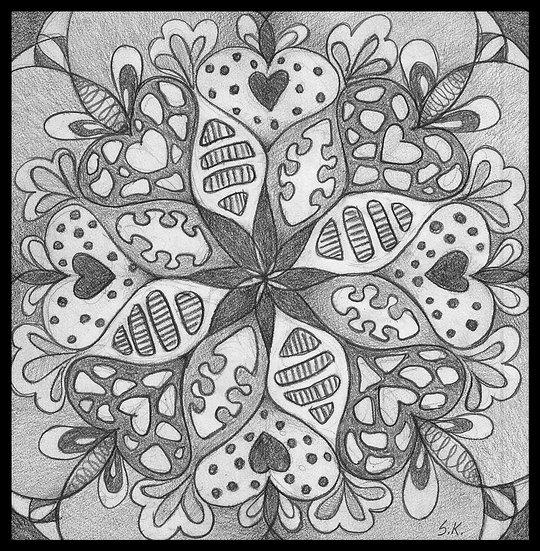 MANDALA. Pencil drawing on card by Susan Kemp.