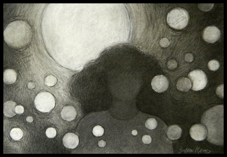 THE BIG RELEASE, charcoal drawing on paper, by Susan Kemp.