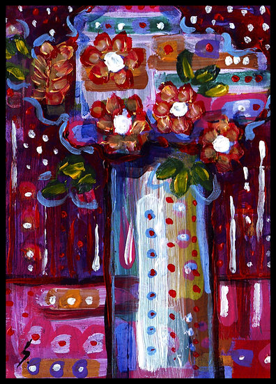 COLOURFUL FLOWERS, acrylic on paper. by Susan Kemp.