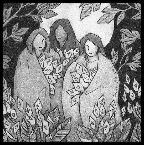 THREE VISITORS.  Pencil drawing on card by Susan Kemp.