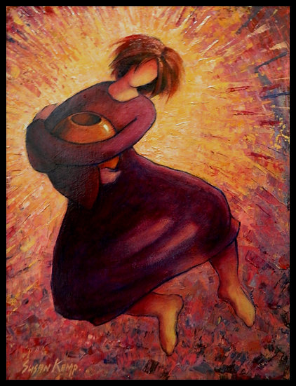 A HAPPY POTTER DANCING, acrylic on paper, by Susan Kemp.
