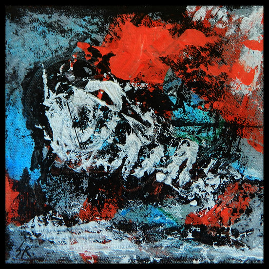 COOL FOSSIL, acrylic on canvas, by Susan Kemp.