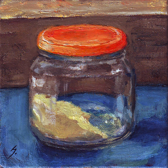 GINGER IN A JAM JAR. Acrylics on canvas, by Susan Kemp.