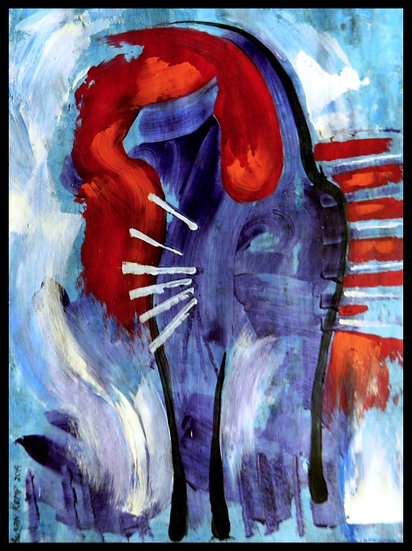 ABSTRACAT, acrylic on paper, by Susan Kemp.