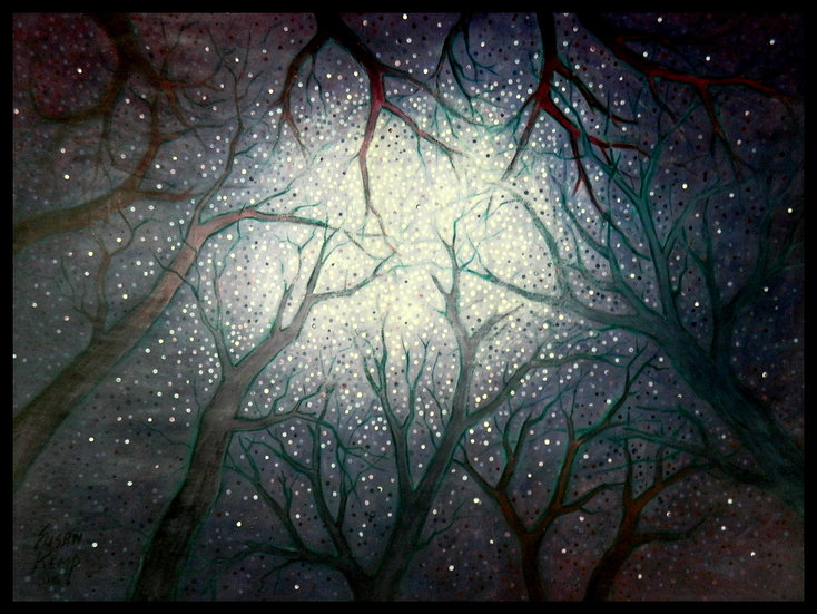 ROOTED IN THE STARS, acrylic on paper, by Susan Kemp.