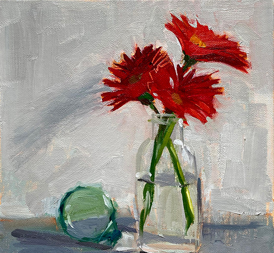 Gerbera Daisies with glass ball