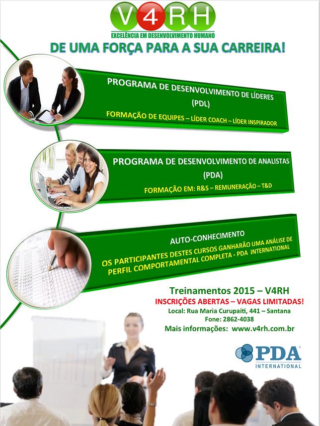 Treinamentos 2015 V4RH - Consultoria em Recursos Humanos