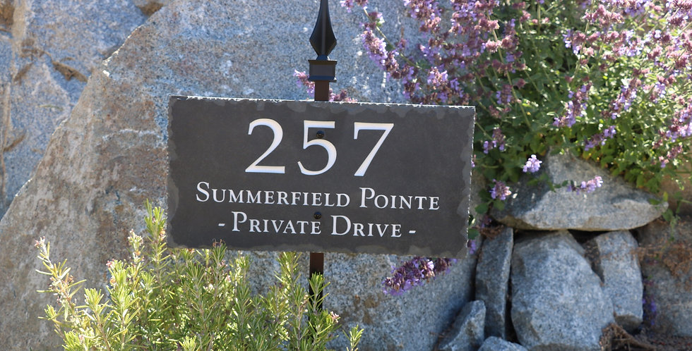 Natural Slate Plaque with Powder Coated Metal Lawn Stake Address Sign