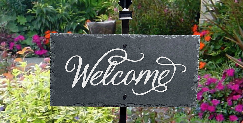 Welcome Slate Plaque Sign with Powder Coated Metal Lawn Stake