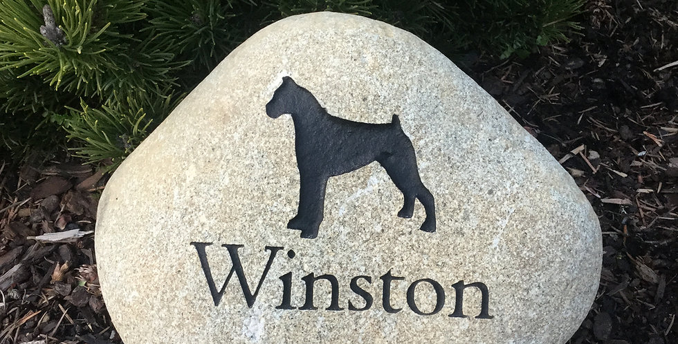 Natural River Rock Dog Memorial