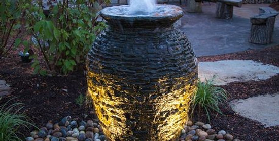 Medium Stacked Slate Urn Complete Fountain Kit
