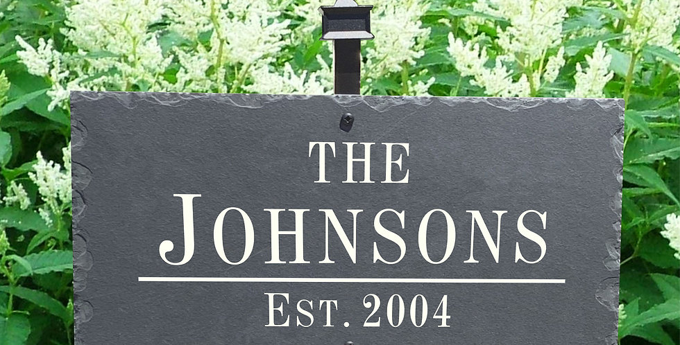 Last Name Homestead Established Slate Plaque Sign with Powder Coated Stake