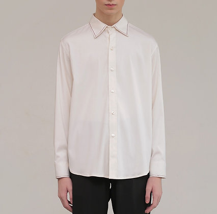 Dress shirt with embroidered red broken lines
