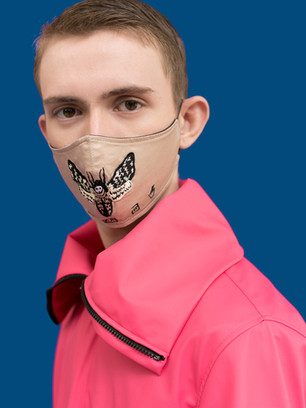 Embroidered moth label care face mask,