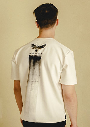Embroidered Moth T-Shirt with Black Hand Painted Brush Stroke