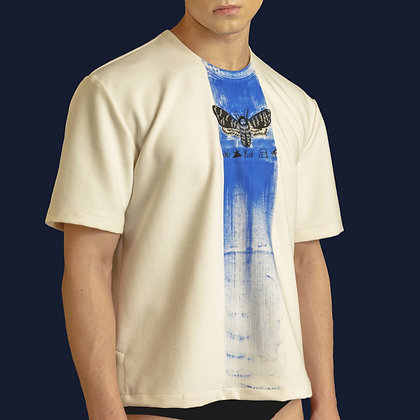 Embroidered Moth T-Shirt with Blue Hand Painted Brush Stroke