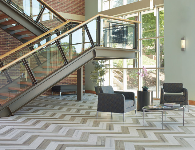 Davidson™ Petrified Concrete Astor and Wythe in herringbone installation