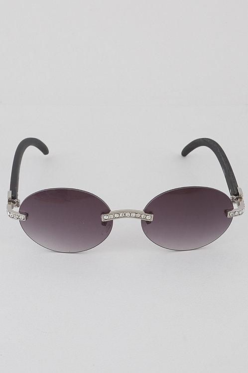 Rhinestone Round Sunglasses