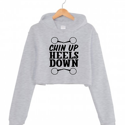 Equestrian Chin up Heels Down Grey Cropped hoodie