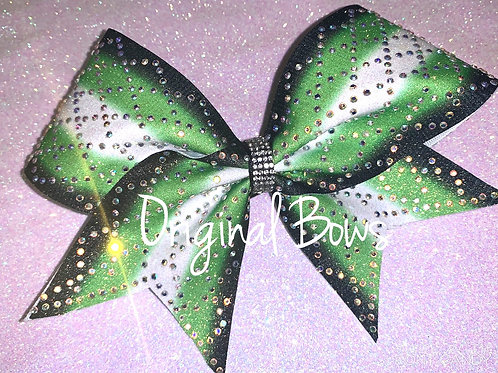 Black Green and White Argyle Glitter Cheer Bow
