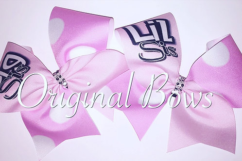 Pink & White Polka Dots Big Sis LiL Sis Twinning Cheer Bows