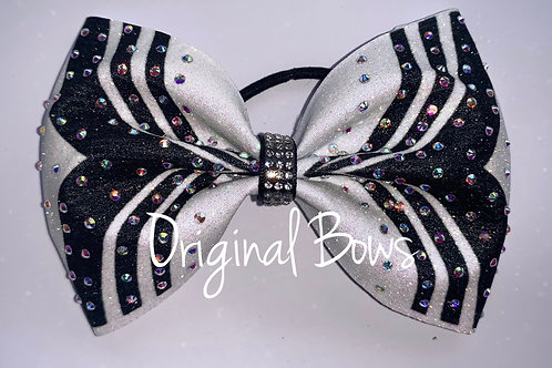 Black and White Glitter Rhinestone Cheer Bow