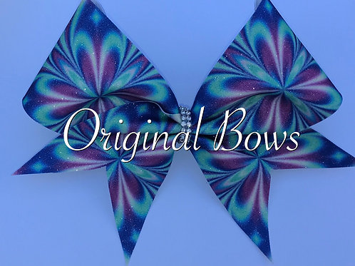Retro Flowers purple and Blue Glitter Bow