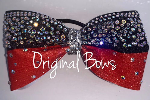 Blood Orange & Black Rhinestone tailless glitter bow